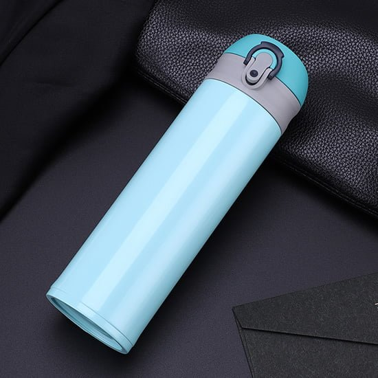 insulated water bottle with push button