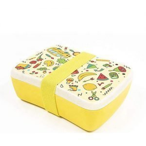 kids bento lunch box food storage bamboo fiber