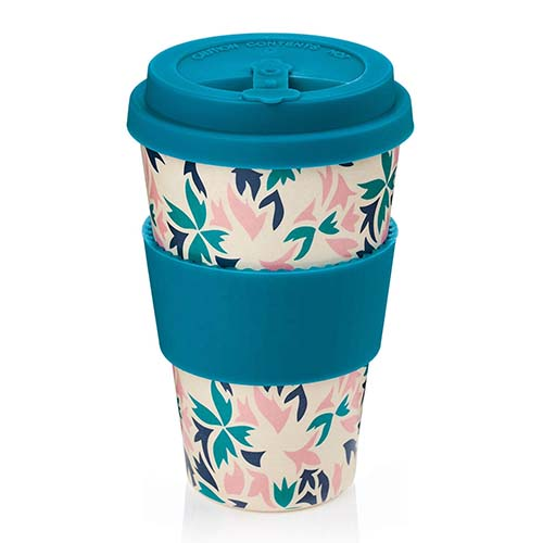 Bamboo fiber cup with silicone lid