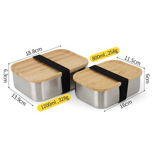 Bento box with bamboo lid